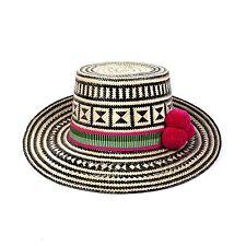 YOSUZI NWT $400 Chika Pom Pom Straw Woven Geometric Wide Brim Beach Straw Hat