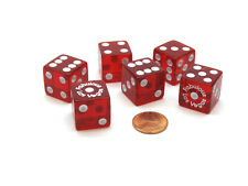 """Pack of 6 """"Fabulous Las Vegas"""" Transparent 19mm Dice - Red with White Numbers"""