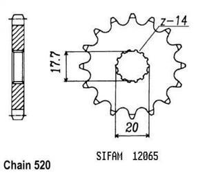 Piñón de Salida De Caja sifam moto Gasoil 125 SM 2001 A 2009 14 Dientes paso