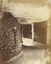VIEW IN THE CATACOMBS PARIS FRANCE 8X10 PHOTO  BY NADAR 1861