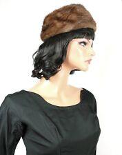 "Mink Satin Pillbox Hat Sz 7 M 21"" Vintage 50s 60s Brown Real Fur Desinger Lora"