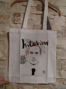 MARC JACOBS MEN'S EXTREMELY RARE THE ANDY WARHOL MUSEUM WHITE COTTON TOTE BAG