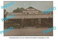 OLD 8x6 PHOTO OF CUNNAMULLA SERVICE STATION QLD SHELL PETROL BOWSER c1920