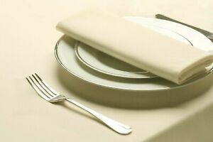 Ivory Cream Plain 230 cm Square Tablecloth  Napkins Set Long Lasting Polyester
