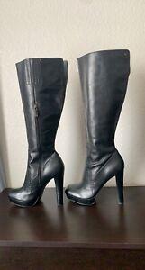 Calvin Klein Britton Platform Mink Leather Knee High Boots Size 10M -Without Box