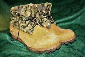 """Men's Timberland Boots  Suede & Camouflage ,""""very cool""""  Size 10.5 W"""