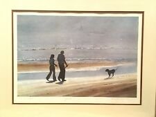 26x20 Glass Framed Watercolor By S L Thompson Gslveston Texas Signed Beach Coast