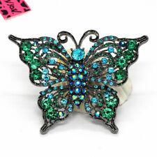 Bling Butterfly Charm Brooch Pin Gift Hot Betsey Johnson Blue Ab Rhinestone