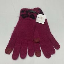 Coach Women's Angora Rabbit Blend Ocelot Touch Gloves Pink Leopard Print OS NWT