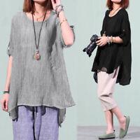 ZANZEA Women Pullover Basic Top T Shirt Tee Long Sleeve Cotton Linen Blouse HOT