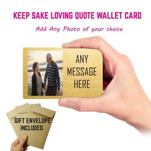 Personalised Photo Text Wallet Card Insert Gift Dad Mum fathers Day Gift Him