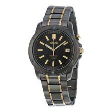 Seiko Men's SNQ045 Perpetual Calendar 100M Black-Tone Luminous Hands Date Watch