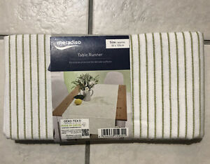 Meradiso Table Runners Approx 50 X 150 cm Green Stripes 100% Cotton
