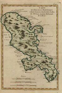 Martinique French Colony Lesser Antilles Caribbean Island 1780 Bonne map