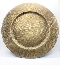 "Set Of Four 13"" Faux Wood Chargers Gold"