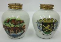 Vintage Heidelberg Germany Porcelain Souvenir Salt and Pepper Shaker Set