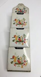 Vintage Tin Mail Sorter Letter Holder Wall Hanging White Cream Accent Flower 🌸