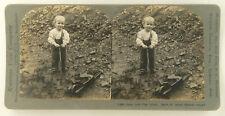 Keystone Stereoview Young Boy Playing with Toy Wheelbarrow & Shovel 1911 # 11748