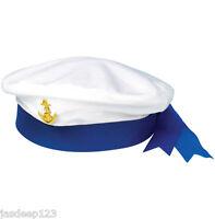 Sailor Captain Blue Hat Fancy Dress Navy Marine Unisex Cap Costume Sea Anchor