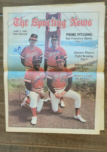 1978 TRIPLE SIGNED SPORTING NEWS COVER GIANTS VIDA BLUE BOB KNEPPER JIM BARR