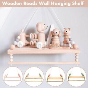 Cute Baby Kids Storage Wood Rope Swing Wall Hanging Shelf Shelves Holder