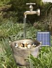Solar Garden Water Feature Led Bucket Tap Fountain Outdoor Statues Decoration
