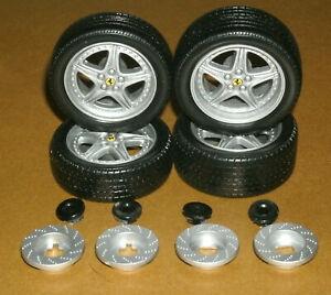 1/18 Scale Wheels & Tire Set on Ferrari 550 F133C Rims - Hot Wheels Model Parts