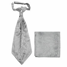 New men's polyester ASCOT cravat neck tie & hankie set Silver Paisley prom