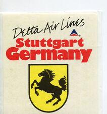 vintage Airline Label Luggage DELTA AIRLINES Stuttgart Germany  horse #DJ