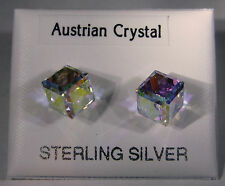Sterling silver Austrian crystal cube stud Earrings