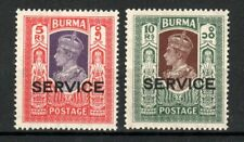 Burma 1939 5r and 10r Officials SERVICE opts MLH