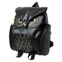 Women's Owl Leather Backpack Embossed Zipper School Bag Daypacks Bookbag Hot SZ