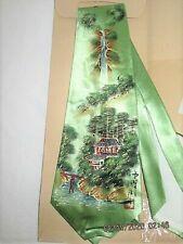 Vtg 1940'S Wwii Hand Painted Asian Wide Silk Tie Unused W Pkg Rockabilly Japan