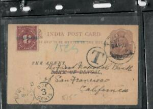 BURMA (PP0302B) FORERUNNER INDIA USED IN AKYAB KE 1/4A PSC POSTAGE DUE TO USA