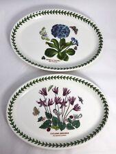 "2 Portmeirion 9 3/4"" Oval Plate Botanic Garden Blue Primrose Ivy Leaved Cyclamen"