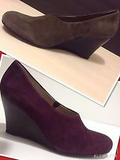 Eileen Fisher SZ 5.5,8.5,9 Smart Womens Plum. Taupe,Suede Wedges Heels Shoes