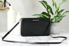 Michael Kors Jet Set Travel Large Leather Black Triple Gusset Crossbody Bag