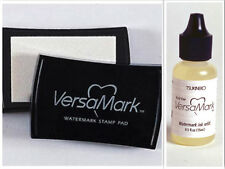 NEW Tsukineko Versamark Watermark Resist Clear Stamp Pad + Re-Inker BUNDLE Set