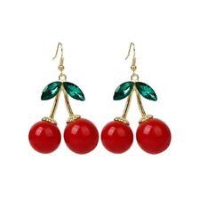 1 Pair Women Fashion Cherry Drop Dangles Rhinestone Ear Studs Earrings N2e7 F2