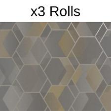 x3 Rolls Asik Geometric Wallpaper Holden Yellow Metallic Modern Contemporary
