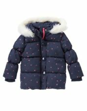 NWT Gymboree Girls Polar Pink Navy w/ Pink Stars Hooded Puffer Jacket 6-12M