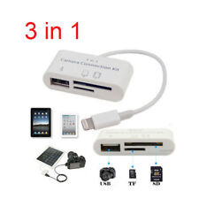 US 3 in1 USB TF SD Card Reader Camera Connection Kit Adapter For Apple iphone
