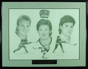 Wayne Gretzky, Mario Lemeiux & Brett Hull Signed Framed Lithograph (PSA/DNA)