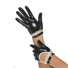 Sexy Black Latex Rubber Gloves with Lace Edge for Club Wear Gummi 0.4mm