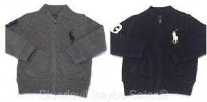 Polo Ralph Lauren Jumper Sweater Boys Big Pony Cotton Full Zip in Navy & Grey
