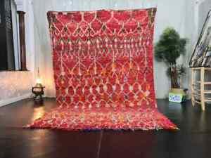 "-VINTAGE RUG- Moroccan Azilal Rug 5'9"" x 8'5 Berber Geometric Red Orange Carpet"