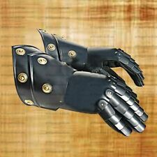 Medieval Gauntlets Pair Iron Steel Black w/ Leather Gloves Roman Knight Costume