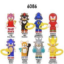 8pcs Sonic the Hedgehog Mini Figures Toys Super Shadow Nakkururu Building Block