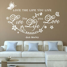 Bob Marley Quote Love The Life You Live Art Wall Sticker Decals Decor Removable