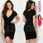 New Short Sleeve Wrap Style Dress Party Evening Clubbing Size 6 8 10 XS S M